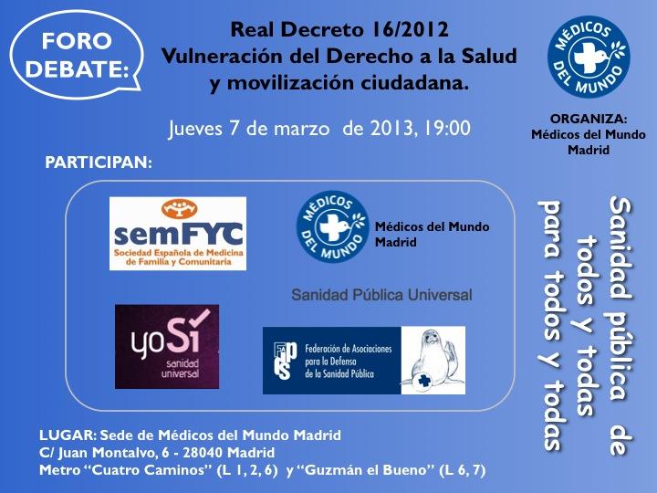 Foro de debate sobre el Real Decreto Ley 16/2012