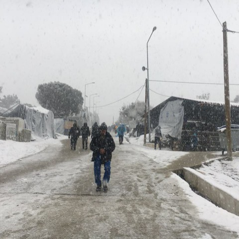 Ola de frio en el campo de refugiados de Moria, Grecia