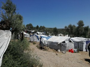 Campo de personas refugiadas en Lesbos