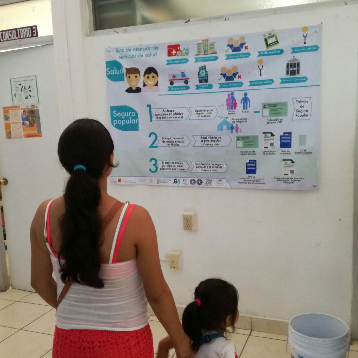 ruta de atención migratoria en el Centro de Salud Central de Tapachula